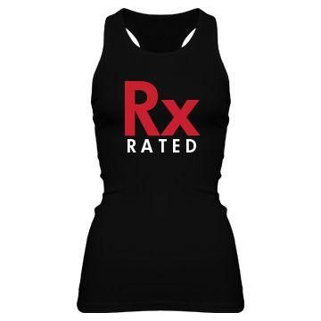 Rx Rated Junior Fit Bella Sheer Longer Length Rib Racerback Tank Top