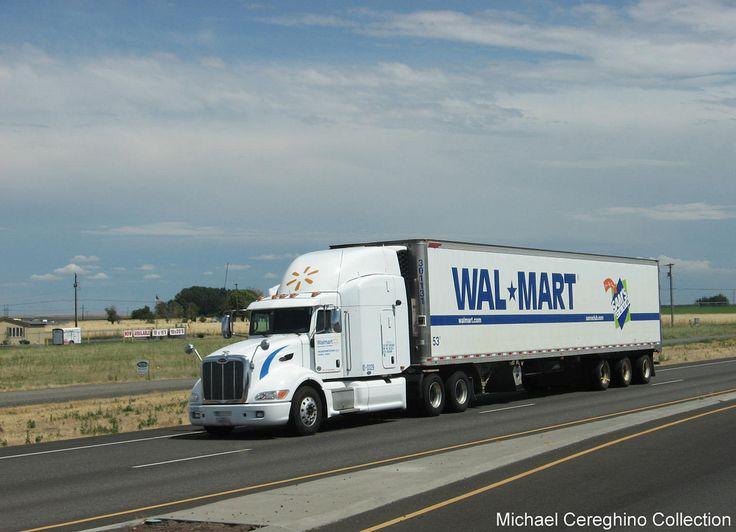 Wal-Mart Peterbilt 386 pulling an Alaska Tri-dem reefer northbound on HWY 395 after departing the Hermiston, OR DC in July 2011.