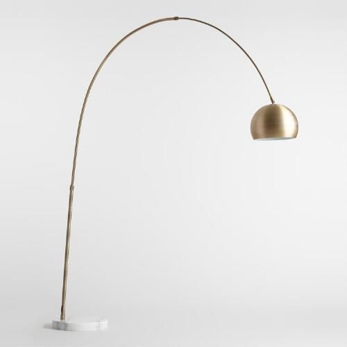 Brass Arc and Marble Jayson Floor Lamp | World Market