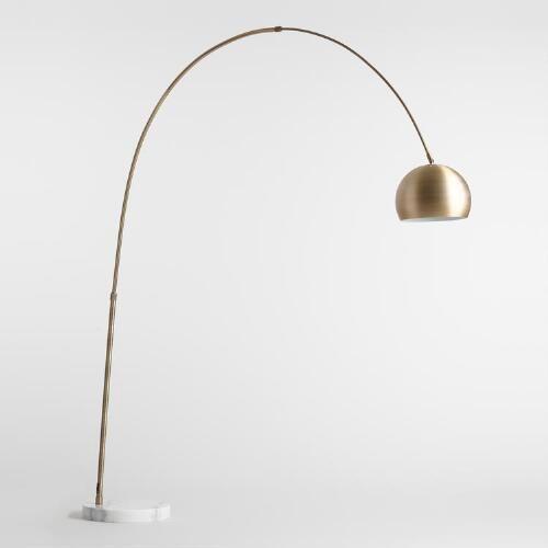 Brass Arc and Marble Jayson Floor Lamp | World Market