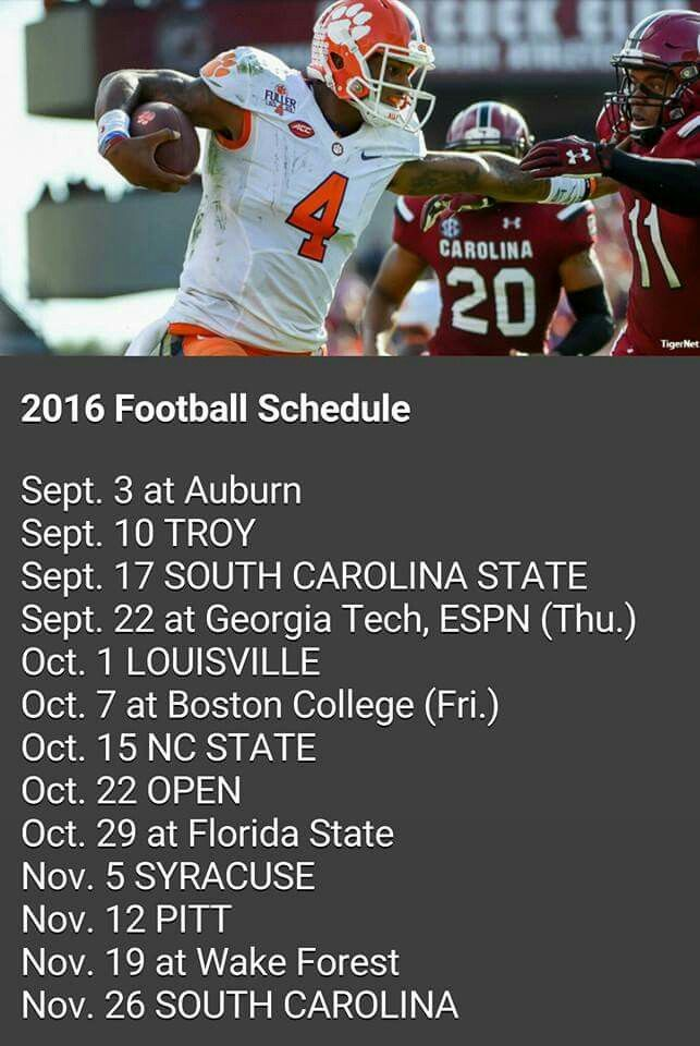 2016 Clemson Tiger football schedule