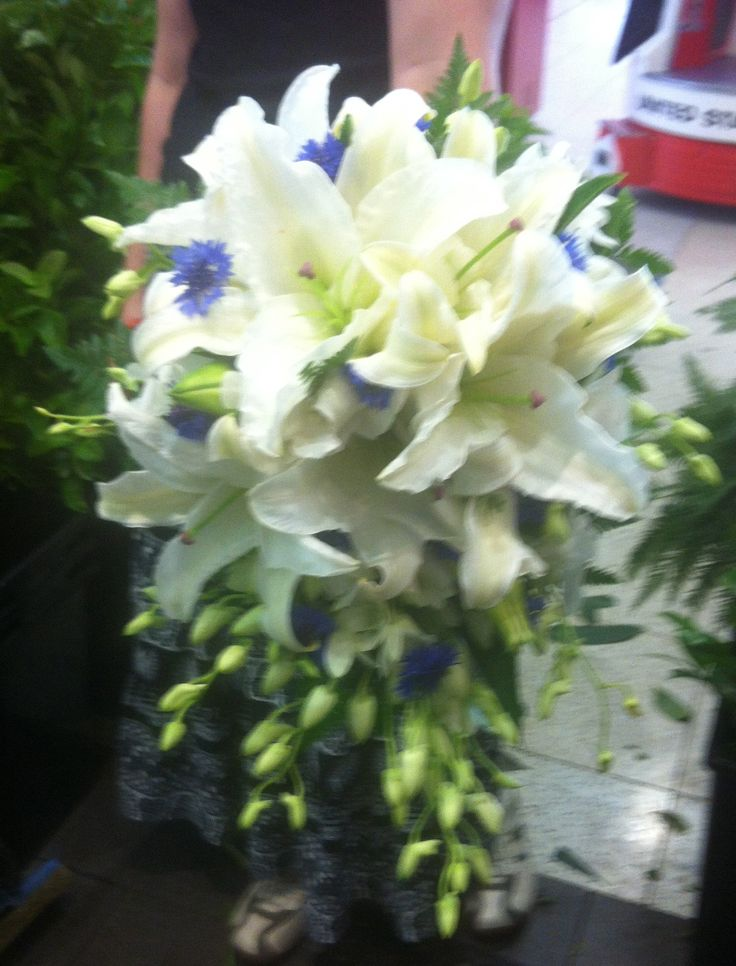Cascade Bouquet Of White Oriental Lilies Cornflowers And
