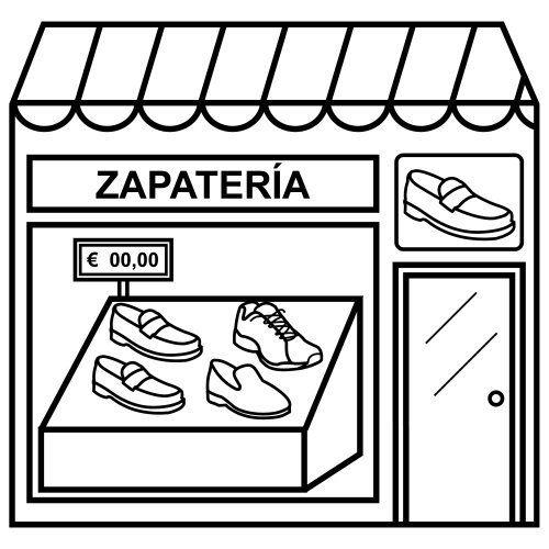 Kleurplaat schoenenwinkel
