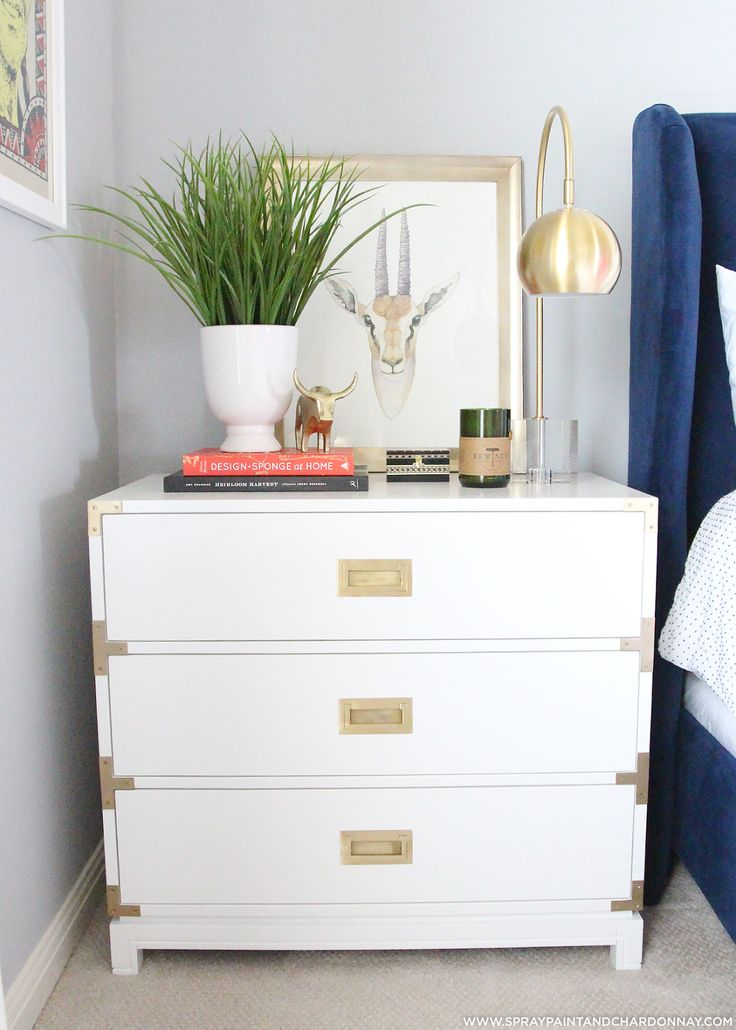 Small Harper Campaign Dresser painted glossy white and styled | AVE Raw Project by Spray Paint & Chardonnay Blog