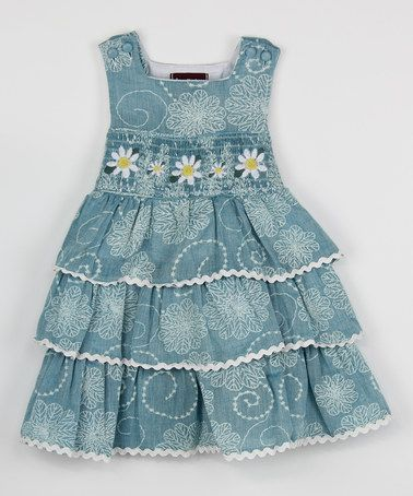 This Blue Daisy Ruffle Smocked Dress - Toddler & Girls is perfect! #zulilyfinds