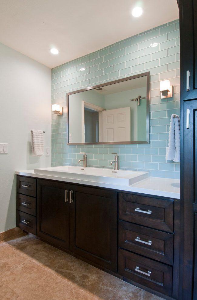 light blue glass tile backsplash google search powder room in rh pinterest com