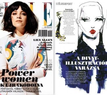 Illustrated portrait for fashion magazine, Elle