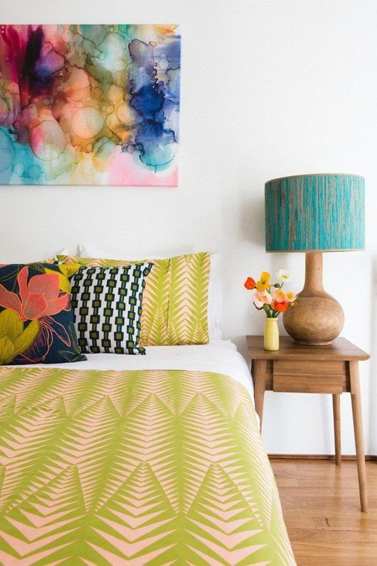 Yes, It's Possible: Vividly Colorful Bedrooms With Basic White Walls