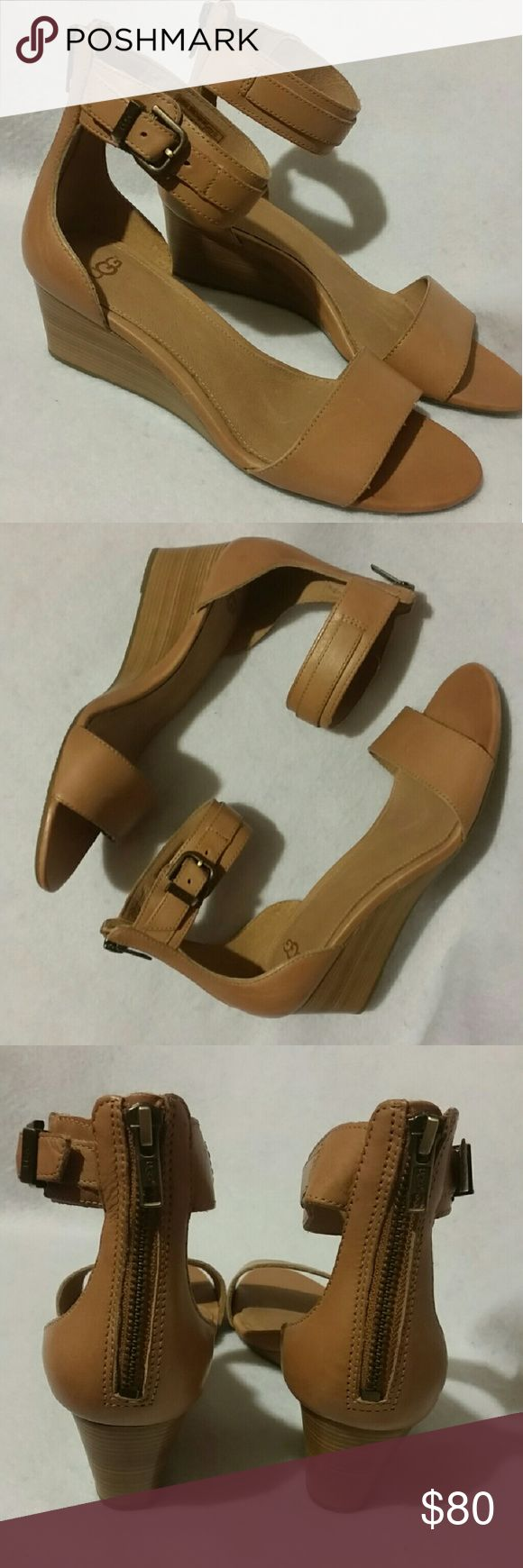 UGG Australia Wedge Sandals NIB Camel UGG Australia Char Wedge Sandals With Back Zipper Closure. UGG Shoes Sandals