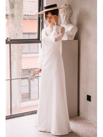 58d61f839e Elegant Floor Length Simple Wedding Dress V-neck with Long Sheer Sleeves