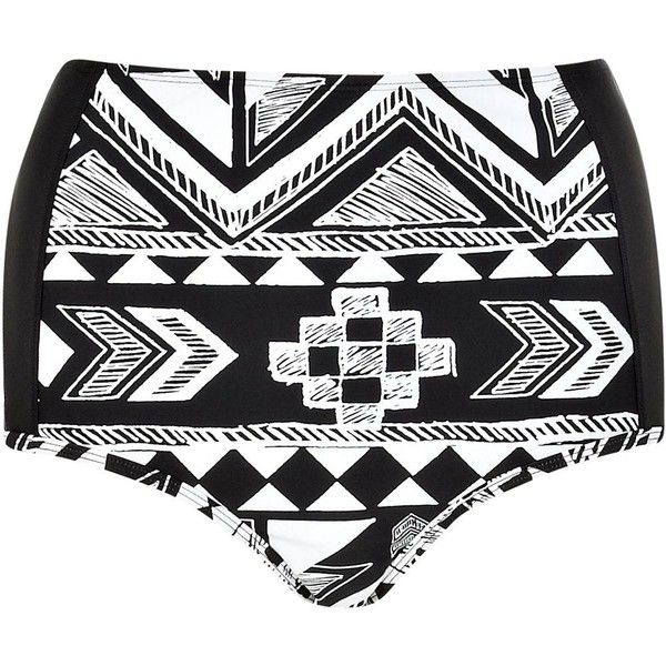 River Island Black aztec high waisted bikini bottoms (220 UYU) ❤ liked on Polyvore featuring swimwear, bikinis, bikini bottoms, shorts, bathing suits, swimsuits, sale, high-waisted bathing suits, swimsuits two piece and high rise bikini