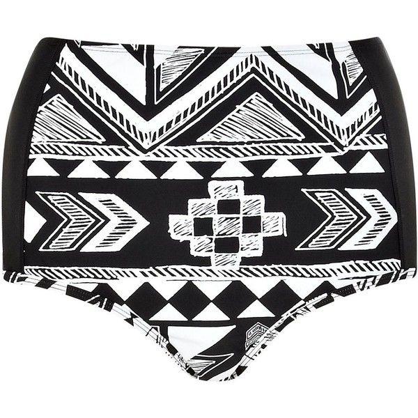 River Island Black aztec high waisted bikini bottoms (220 UYU) ❤ liked on Polyvore featuring swimwear, bikinis, bikini bottoms, shorts, bathing suits, swimsuits, sale, high-waisted bathing suits, swimsuits two piece and high rise bikini