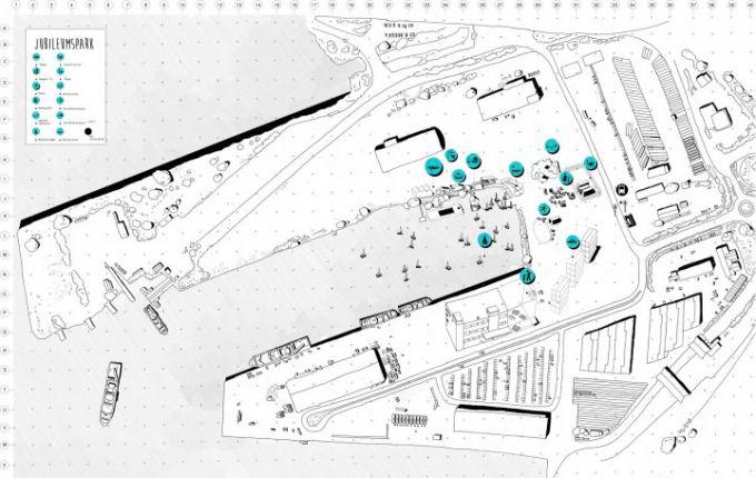 Plano de situación. Göteborg Bathing Culture por raumlaborberlin Architects. Fotografía © raumlaborberlin. Señala encima de la imagen para verla más grande.