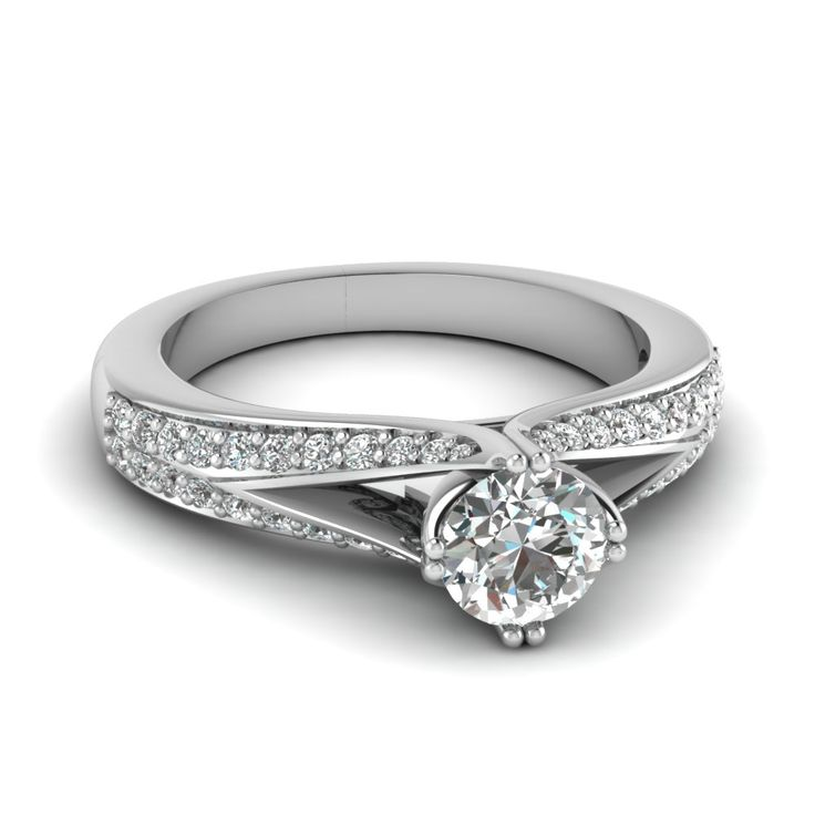 ... White Diamond in 14K White Gold    Micro Pave Split Shank Round Ring