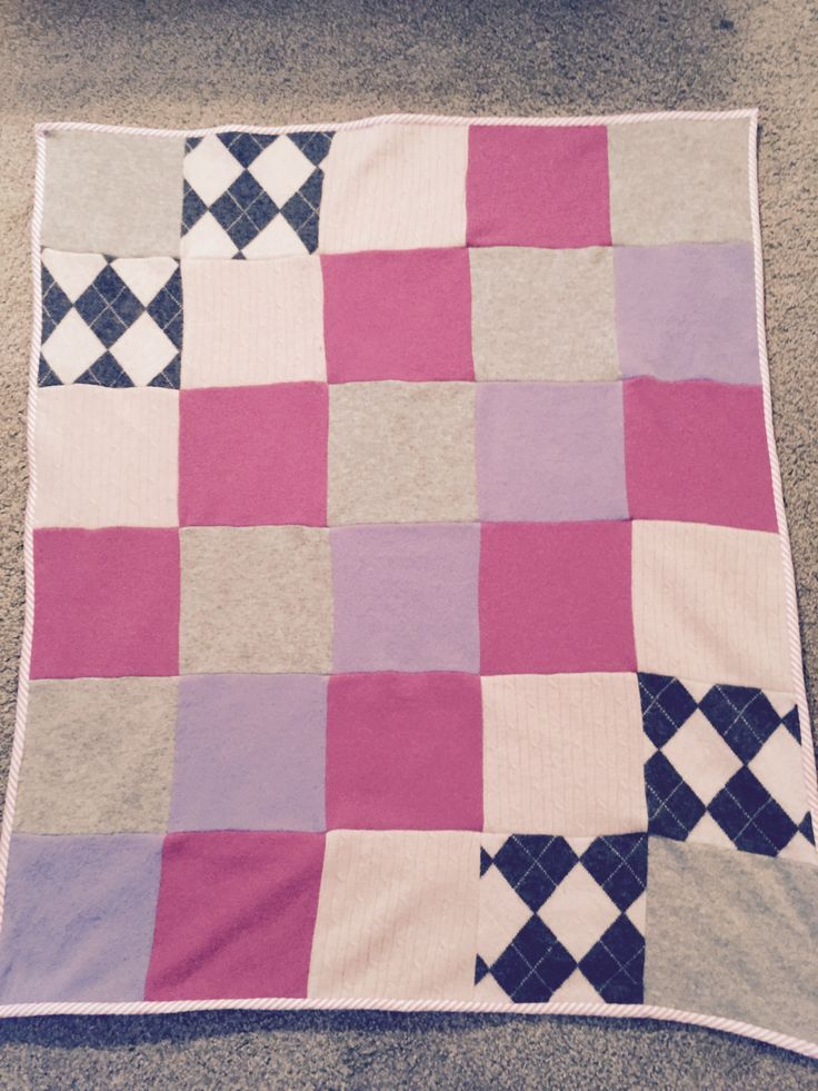 Cashmere Baby Blanket/Lap blanket/repurposed/reclaimed cashmere/soft pinks,grey,purple/OOAK by gotomyhead on Etsy