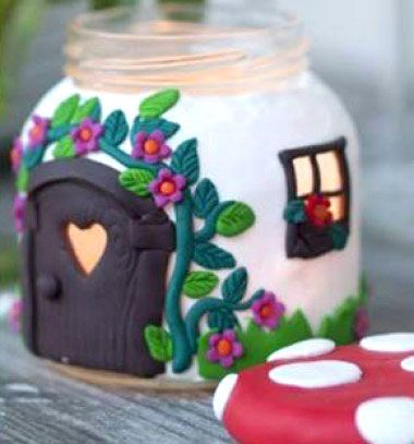DIY Jar Mushroom House - with polimer clay // Gombaház - mécsestartó befőttesüvegből gyurmával // Mindy - craft & DIY tutorial collection