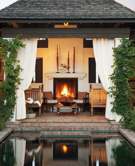 Fireplace cabana brick poolCovers Patios, Outdoorliving, Dreams, Pools House, Outdoor Living Spaces, Outdoor Patios, Outdoor Room, Outdoor Fireplaces, Outdoor Spaces