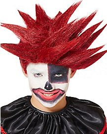 Kids Black and Red Scary Clown Wig
