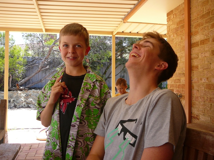 A good laugh with grandsons, MIchael & Ziggy