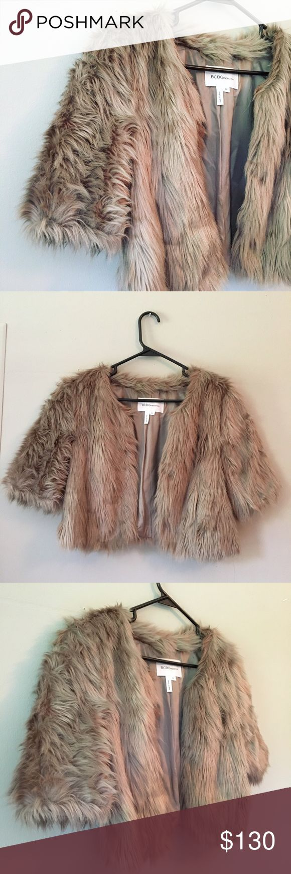 Grey cropped faux fur coat BCBGeneration cropped grey faux fur coat. Perfect condition. Worn once. BCBGeneration Jackets & Coats