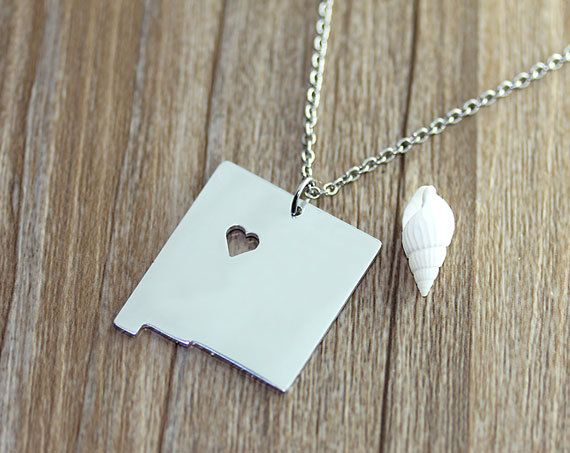 I heart  New Mexico Necklace  New Mexico  Map by myhandword, $10.50