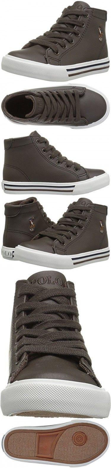 Polo Ralph Lauren Kids Boys' Slater Mid Sneaker, Chocolate Tumbled, 4.5 Medium US Toddler