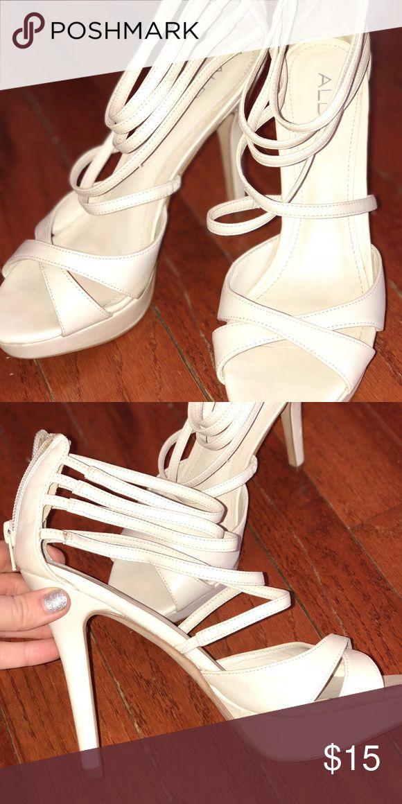 Aldo Eggshell White/Cream Strappy Heels Size 8- Aldo Cream/Nude Strappy Heels. LIKE NEW, NO SCUFFS! Aldo Shoes Heels