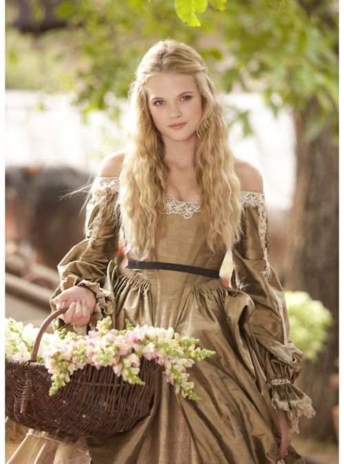 Gabriella Wilde as Constance Bonacieux in The Three Musketeers (2011).