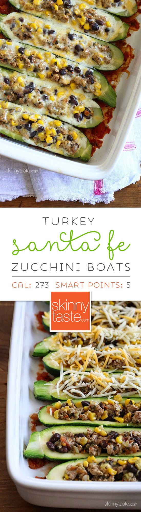 Turkey Santa Fe Zucchini Boats are one of my favorites! Hollowed out zucchini boats stuffed with a cumin spiced ground turkey and black bean mixture with summer corn and tomato, baked in the oven with melted cheese – YUM!