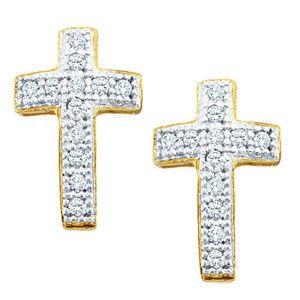 1/10 Carat Diamond 10k Yellow Gold Cross Stud Earrings