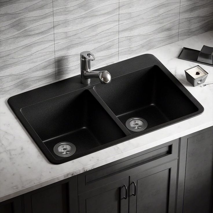 MR Direct T802 Black TruGranite Double Equal Bowl