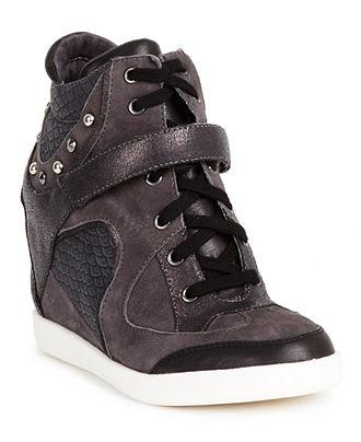 GUESS Women's Shoes, Huxley Wedge Sneakers - Fashion Sneakers - Shoes - Macy's ($120)