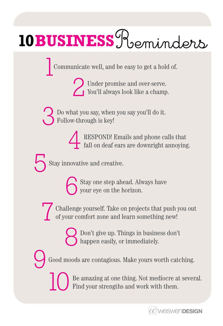 10 fantastic business reminders - by Weswen Design