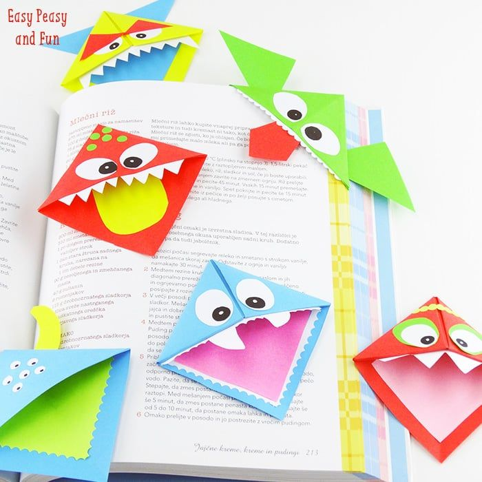 DIY Origami Corner Bookmark Monsters