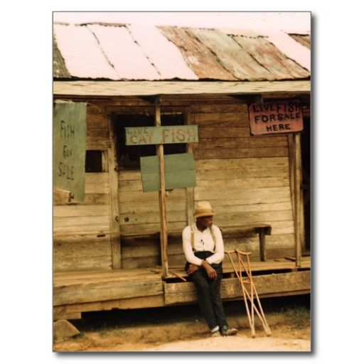 """Live Fish For Sale (Post Cards) - Vicinity of Natchitoches, Louisiana. Photograph shows Sign on pole: Live cat fish; sign to left of door: """"Live fish for sale here;"""" sign at far left: """"Fish for sale."""" Photograph by Marion Wolcott Post, July 1940. (https://twitter.com/HawCreekShop/status/565360889596231681) (http://haw-creek.com/shop/sold-60/)"""
