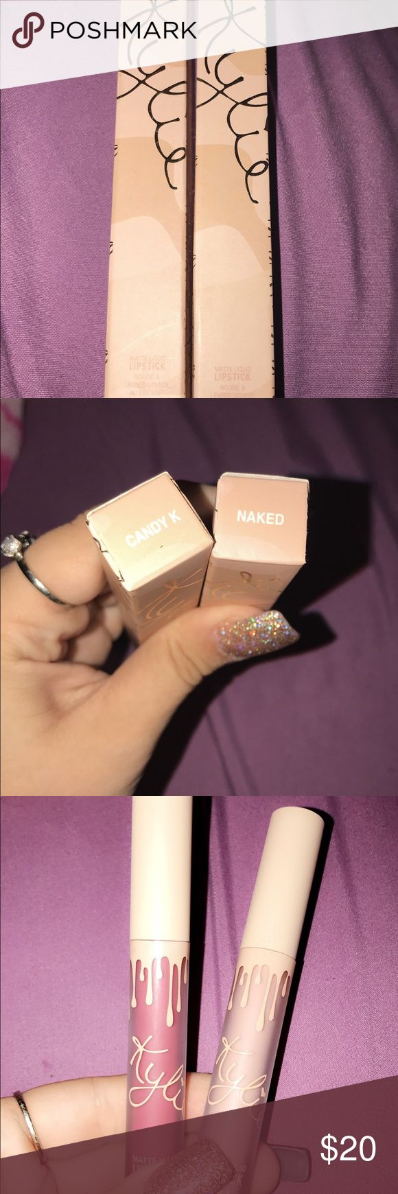 """Kylie Cosmetics """"Naked"""" and """"Candy K"""" Matte Lips """"Naked"""" and """"Candy K"""" Both matte. Swatched once on my arm with a lip brush, never used otherwise. I bought on Poshmark, I am not sure about the authenticity, they are just not the right colors for me. There was no irritation when swatched on my arm Kylie Cosmetics Makeup Lipstick"""