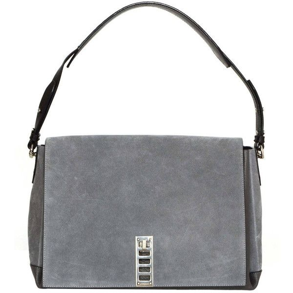 "Preowned Proenza Schouler Grey Leather & Suede ""elliot"" Shoulder Bag... ($825) ❤ liked on Polyvore featuring bags, handbags, shoulder bags, grey, leather shoulder handbags, genuine leather handbags, suede shoulder bag, grey shoulder bag and leather purses"