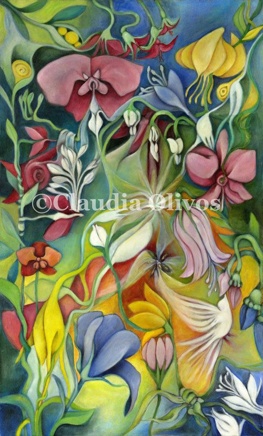 Flowers Abstract wall art colorful flowers deocrative art fantasy flowers pink yellow green with white dove nature natural healing by OlivosARTstudio on Etsy