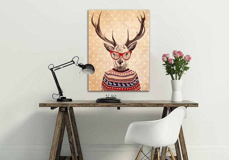 Obraz na płótnie + JELEŃ VINTAGE+ 80X60 cm w LUdesign na DaWanda.com