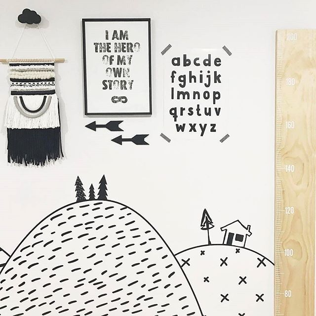 Monochrome nursery designed and styled by @thewholechildinteriors.    Black and white, nursery, kids room, playroom, boys room, kids decor, nursery decor, monochrome nursery, monochrome decor, children's decor, nursery styling.    Alphabet print - www.makersink.com.au  Hero print - @meenyminy  Wall hanging - @harryandthehound  Wall decals - @thelovelywallco  Ruler - @millyandgeorgedesigns