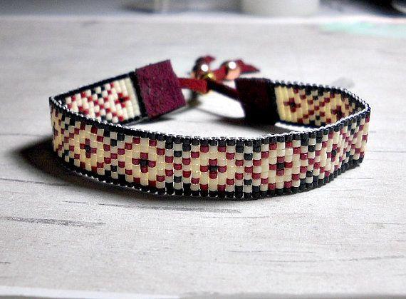 Bead Bracelet Red Diamond Bracelet Loom by BeadWorkBySmileyKit