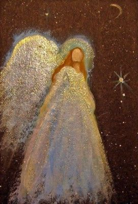 ACEO Original Angel sm. Painting Spiritual Inspirational Healing Energy CCArtist