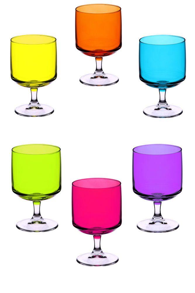 Coloured Wine Glasses, Six piece set - 29.5cl - 295ml