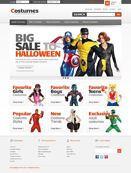Magento #template // Regular price: $180 // Unique price: $2500 // Sources available: .PSD, .XML, .PHTML, .CSS #Halloween #Costumes #Magento #Store #Shop