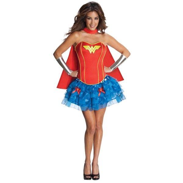 DC Comics Women's Wonder Woman Flirty Costume Medium, Multicolored ($66) ❤ liked on Polyvore featuring costumes, adult super hero costumes, ladies superhero costumes, adult women halloween costumes, women's halloween costumes and wonder woman costume