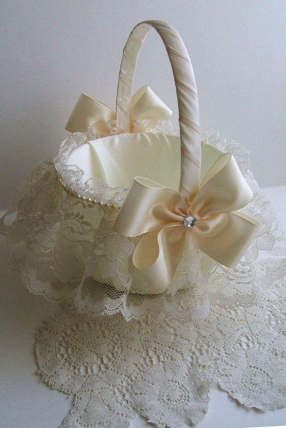 Wedding Flowergirl Basket Handmade Nuance with Lace Skirt Choose White or Ivory on Etsy, $28.00
