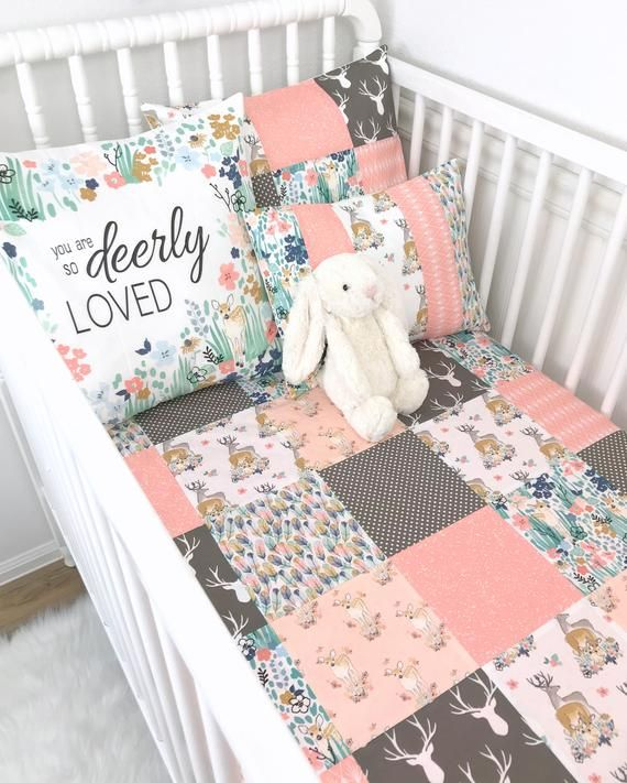 Woodland Baby Girl Blanket Deer Crib Bedding Nursery Decor Etsy
