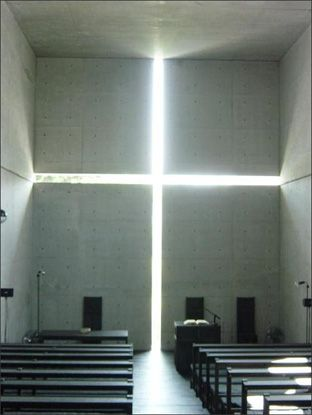 Tadao Ando - church of the light.  writing a paper on this guy. interesting how he used buddhist principles to design a christian church