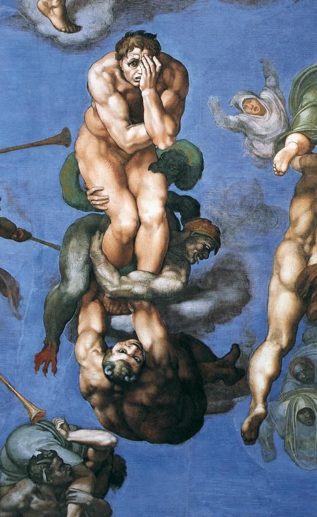 """Michelangelo """"El Juicio Univeral""""(detalle de """"El fin de los tiempos""""):"""