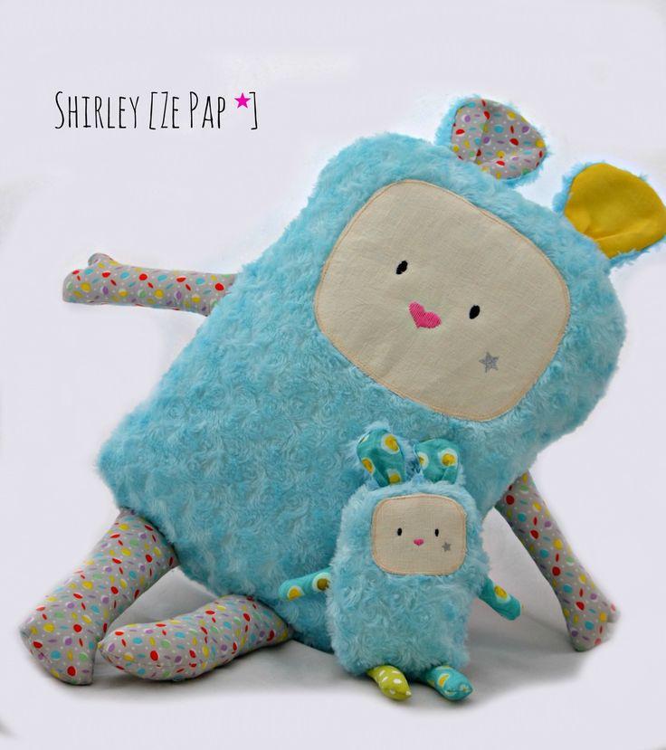Doudou géant personnalisé, coussin doudou, 75 cm de haut, fourrure et coton : Linge de lit enfants par shirleyzepap